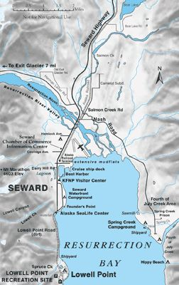 Map Of Seward Alaska And Upper Resurrection Bay Seward Alaska Alaska Kenai Fjords National Park