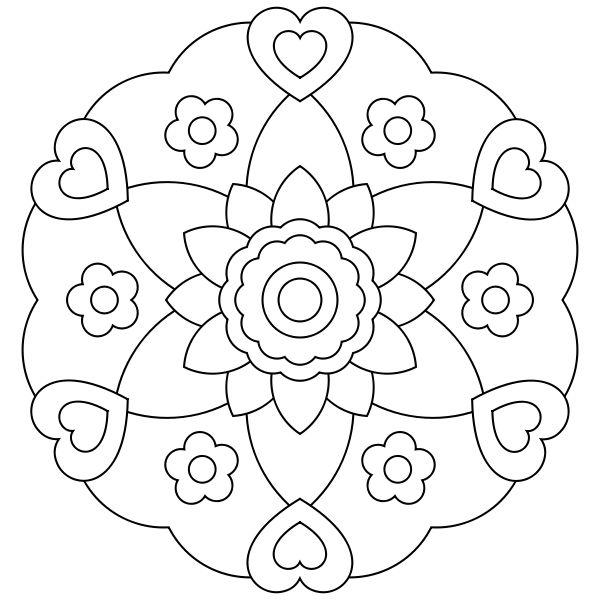mándala flor de corazones