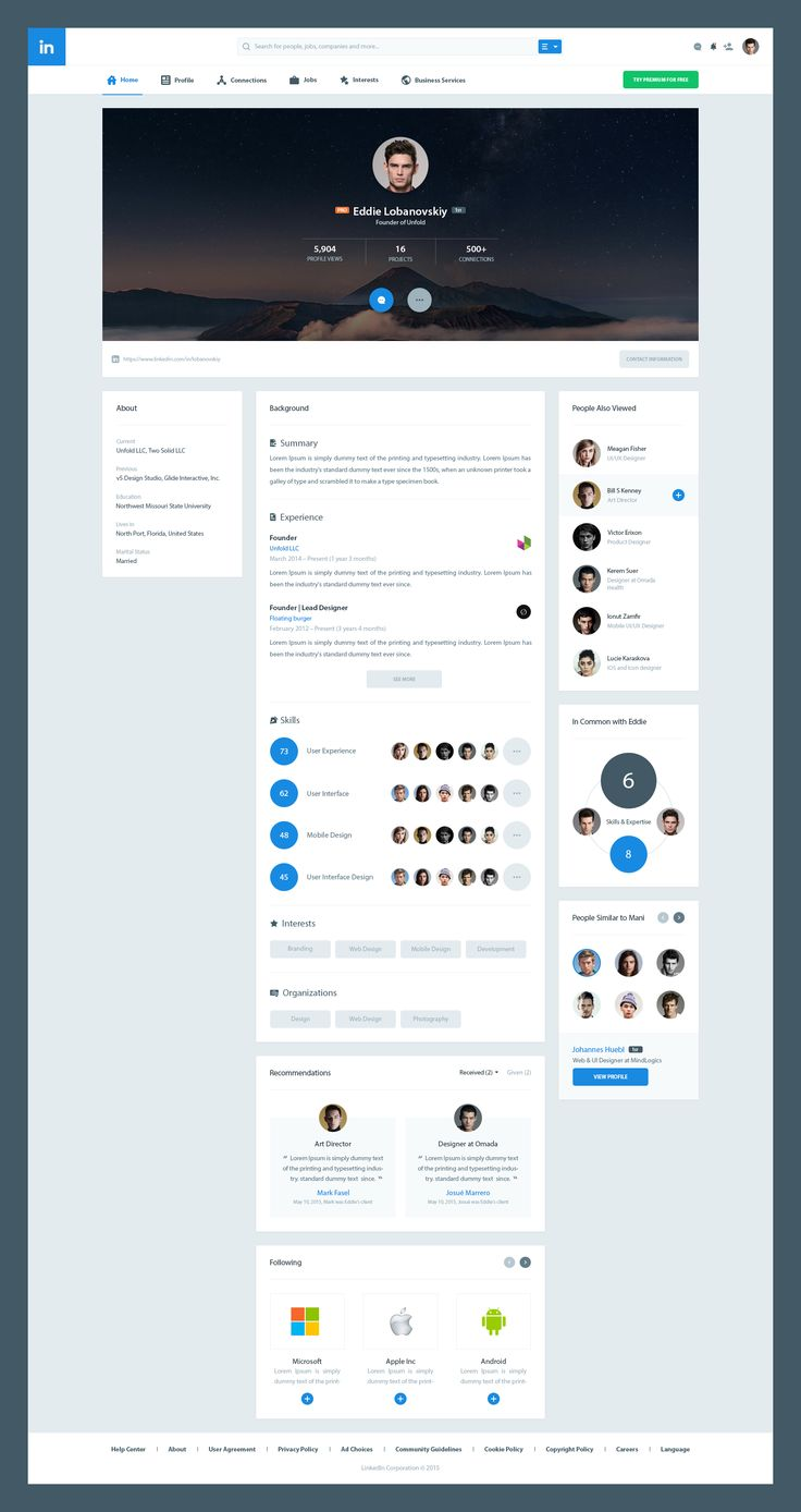 Linkedin Redesign Concepts
