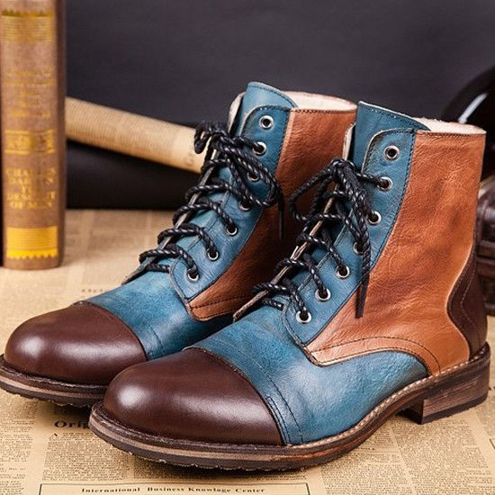 British Style Multicolor Men's Ankle Boots