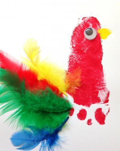 Colourful parrot footprint keepsake craft for baby or toddler.