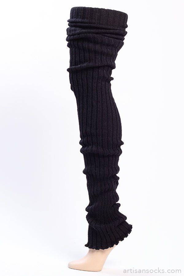 Black Thigh High Leg Warmers - Ribbed Black Leg Warmers from Artisan Socks www.artisansocks.com