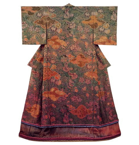 Kubota  kimono.  Very beautiful piece working with old kimonos.  Love the Dye that been done traditionally.