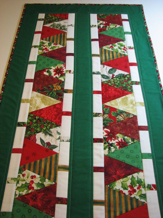 Quilted Christmas Table Runner--Red and Green Assorted Prints, Christmas Trees