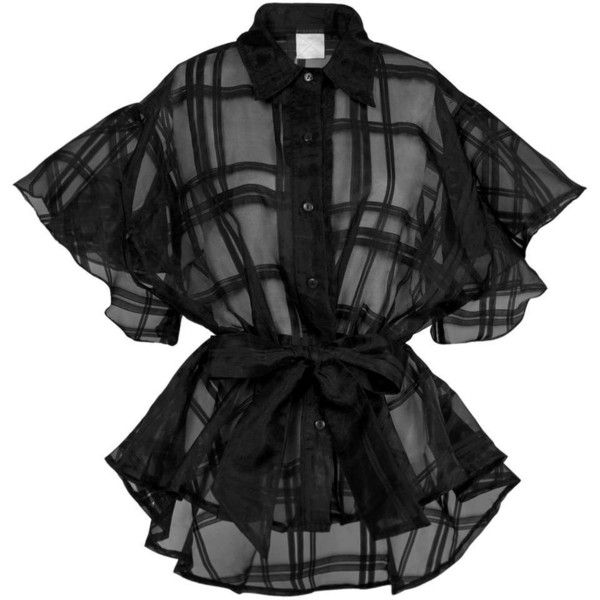 Collar Plaid Butterfly Shirt by Twist X Turn ($66) ❤ liked on Polyvore featuring tops, sheer plaid shirt, butterfly top, tartan shirt, collared shirt and shirt top