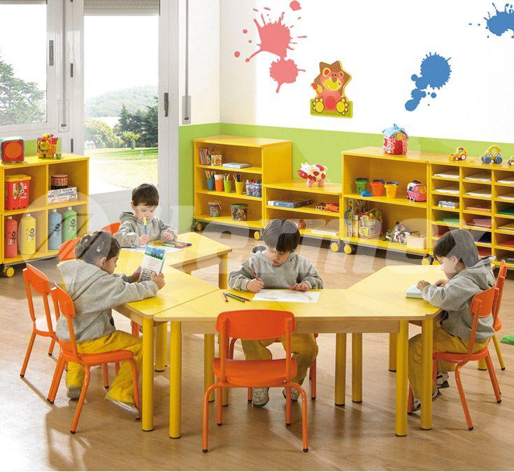 Mesa trapecio para escuelas mesas escolares pinterest for Sillas para mesa redonda