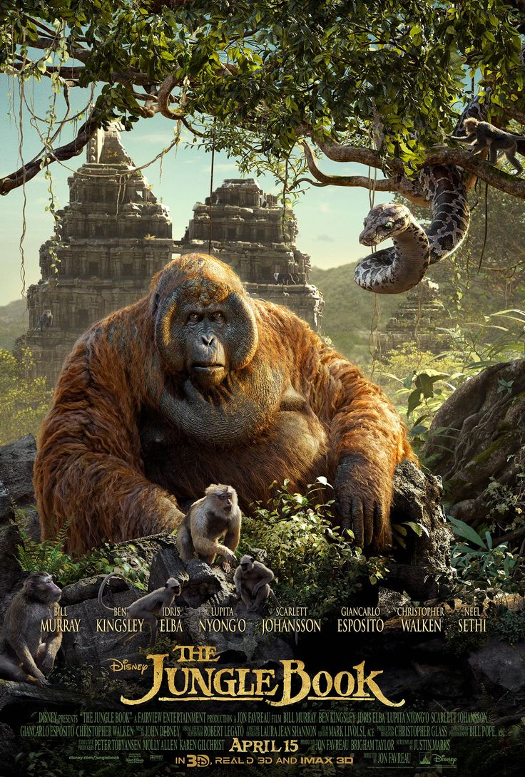 Disney has revealed left and right hand side of a triptych the jungle book poster featuring king louie and kaa and the film s villain shere khan