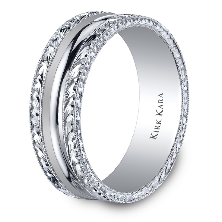 Comfort Mens Band With A Touch Of Magnificent Hand Engraved Detail From The Artin White Gold Wedding
