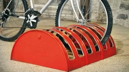 liquid drums turned into bike rack