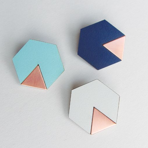 Copper and Formica Brooches