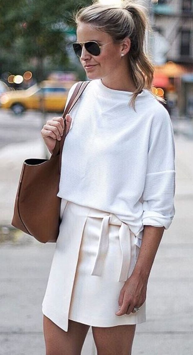 Spring style - white wrap skirt, tie detail, white sweatshirt, high ponytail - street style