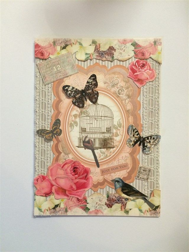 Shabby chic style birdcage card | docrafts.com made using Hunkydory Antique Chic products