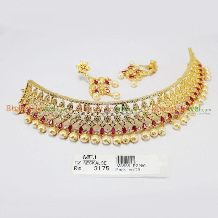 CZ & Ruby Stone Choker Necklace Online