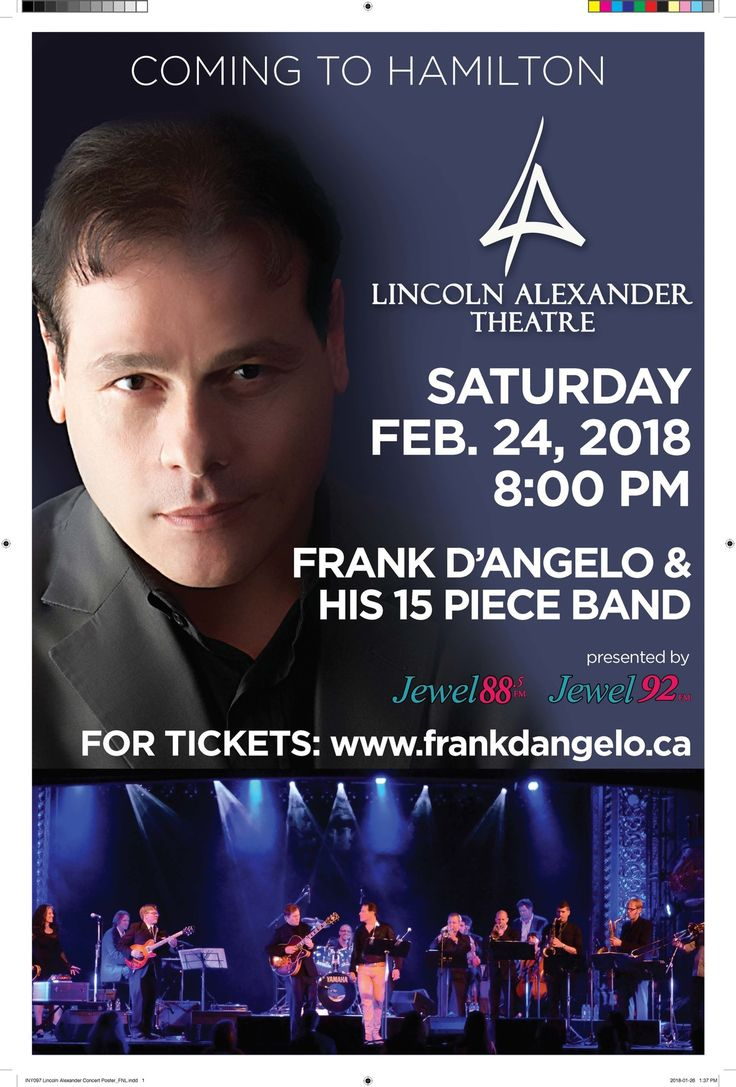 FRANK D'ANGELO & HIS 15 PIECE BAND -  Tickets - Lincoln Alexander Theatre - Hamilton, ON - February 24th, 2018