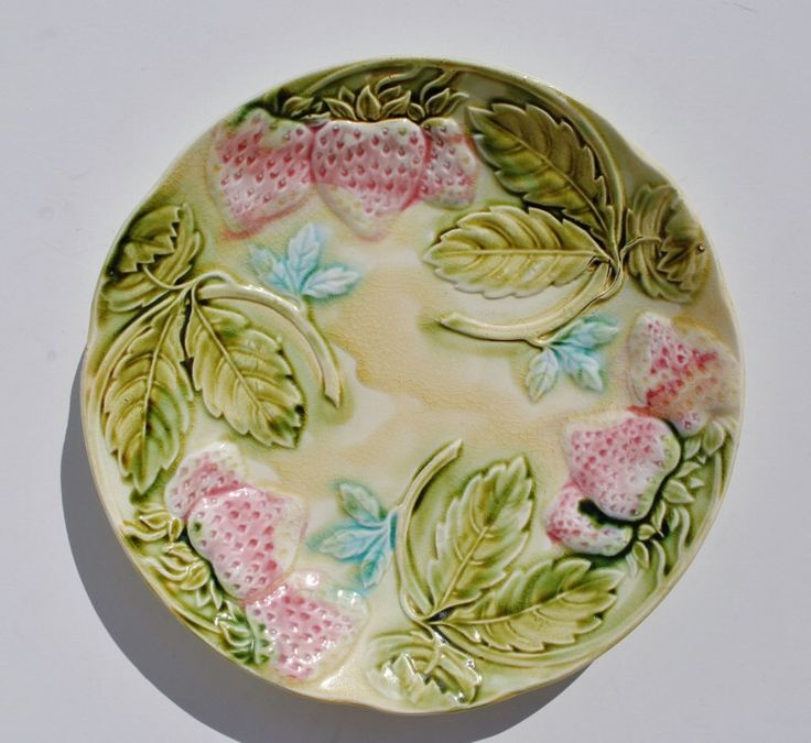 Antique Majolica Strawberry Plate - Majolica, Plates, Majolica Plates, Strawberries, Leaves, Pastel, Display, Decorative by maimiesmerchantile on Etsy https://www.etsy.com/listing/249156435/antique-majolica-strawberry-plate