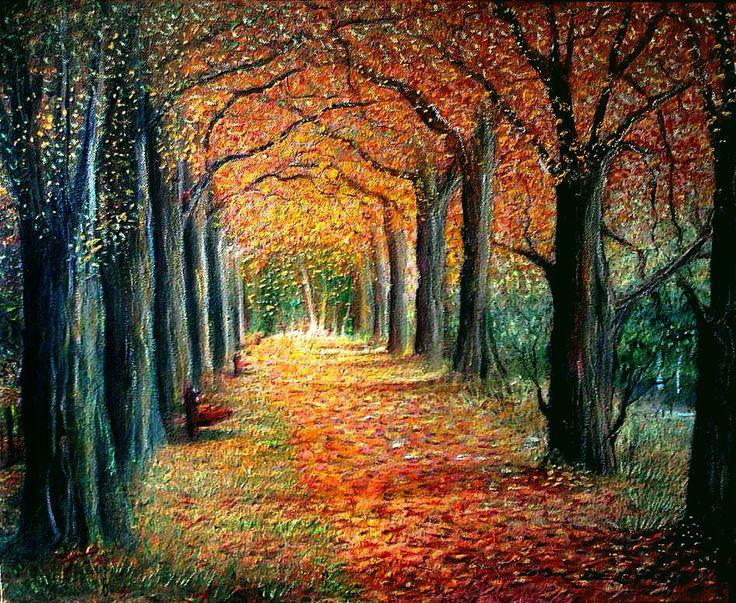 Bosco delle fiabe autunno olio su tela 40x50 for 30x40 planimetrie della casa