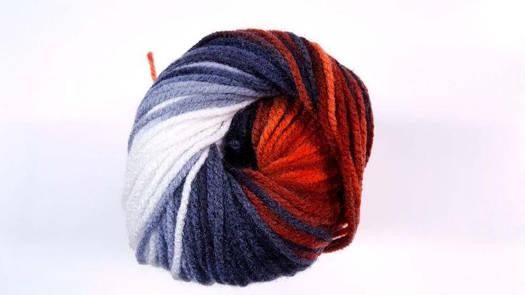 Oranžovo čierno biela melírovaná akrylová vlna Burcum Batik 4204