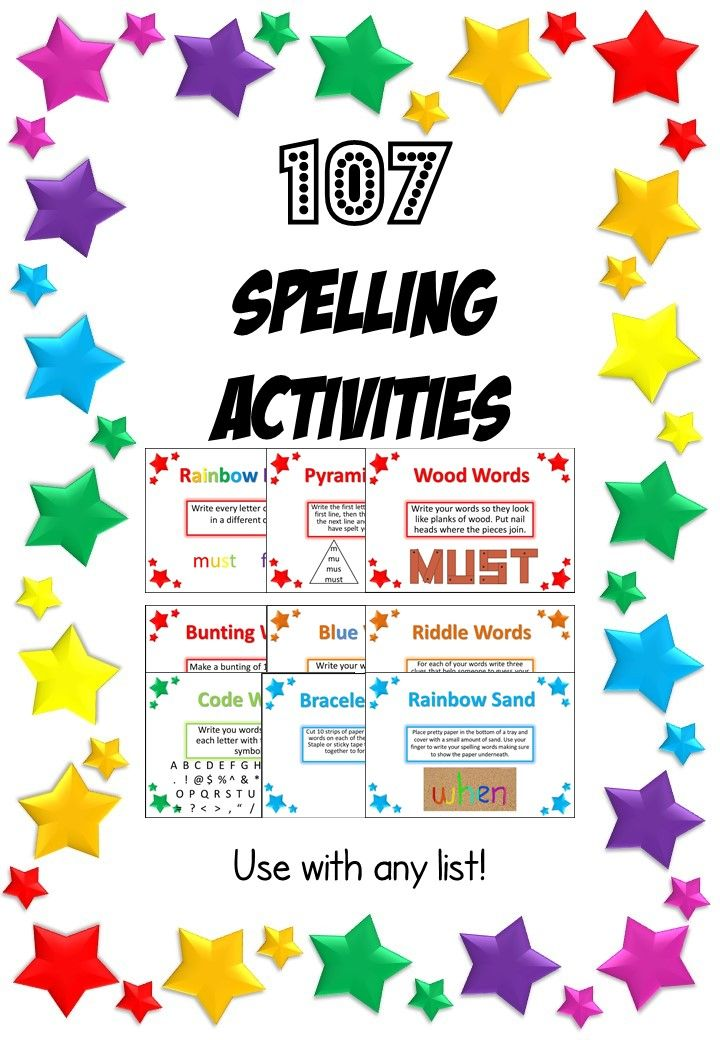 107 Spelling Activities- PowerPoint and Task Cards. Use with any list!