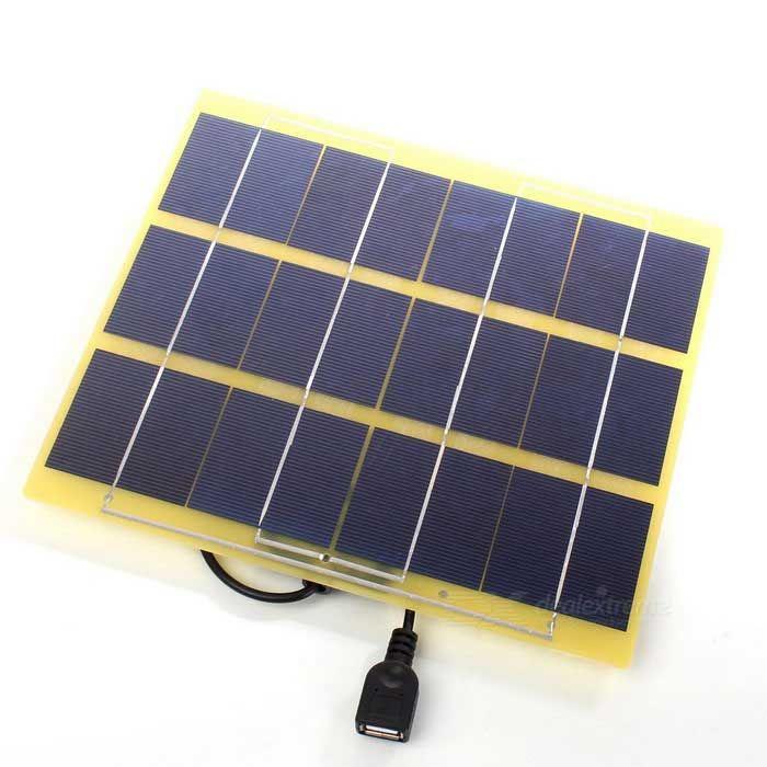 5W 5V USB Output Monocrystalline Silicon Glass Fiber Solar Charger for Mobile Phone