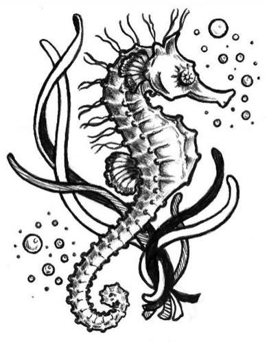 wonderful black and white seahorse and bubbles tattoo design sea pinterest bubble tattoo. Black Bedroom Furniture Sets. Home Design Ideas