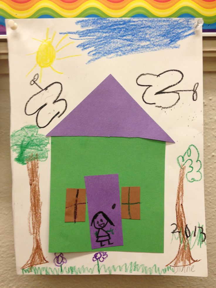 His for house kids use different shapes to make their for Different shapes of houses