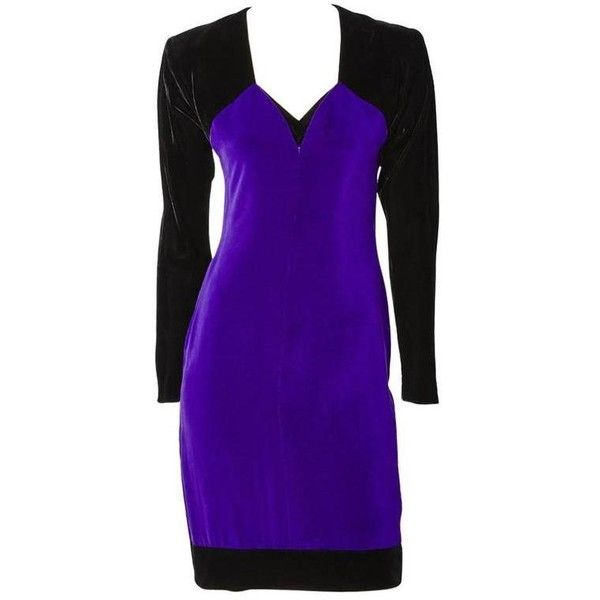 Preowned Yves Saint Laurent Velvet Couture Ensemble ($1,895) ❤ liked on Polyvore featuring dresses, cocktail dresses, purple, long sleeve dress, couture dresses, form fitting dresses, velvet dress and couture cocktail dresses