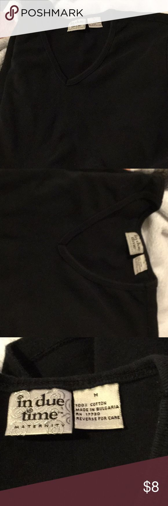 In due time short sleeve black shirt maternity In due time  maternity short sleeve black shirt medium nice. Used shirt but lots of life left. Nice black soft neck t . in due time Tops Tees - Short Sleeve