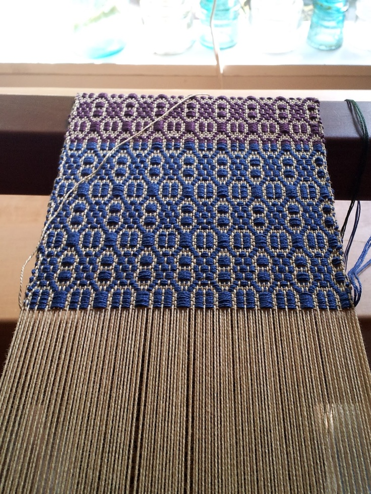 "From the blog: weft side of the loom  ""I am finding overshot to be a rewarding weave structure. It is fun to see how quickly the pattern builds."""