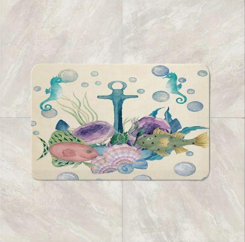 Nautical bath mats, a perfect addition to everybody's bathroom. People designed bath mats so we can place an absorbent fabric near the shower or tub. We mainly created it to soak water, avoid damaging the floor, and to help ourselves avoid slipping on slick wet surfaces. It completes the look of the bathroom. It simply adds aesthetics to it.