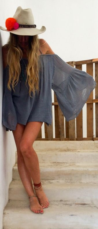 bohemian gray tunic dress white hat. Street summer beach wear women fashion outfit clothing style apparel @roressclothes closet ideas