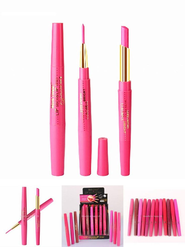 [Visit to Buy] New Dual Purpose Lips Makeup Lipstick & Lip Liner Waterproof Long Lasting Lipliner Door Lip Stick Marker Pink Pencil Cosmetic #Advertisement