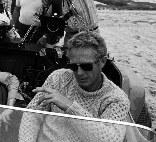 Steve McQueen rocking an aran jumper.