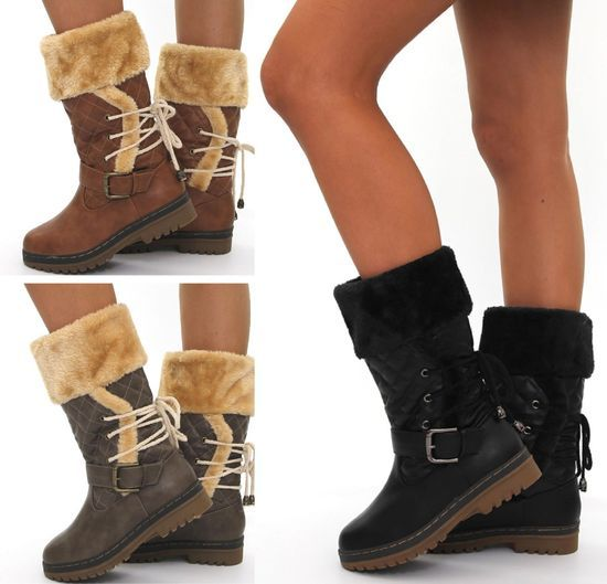 in Stylish Shoes Ladies Ankle Boots Girls Womens HI Womans Flat Stitched  Low Heel Lace Up Faux Fur Lined Winter Schneeauf Loads Mid Calf Boots Size  36 37 38 ...