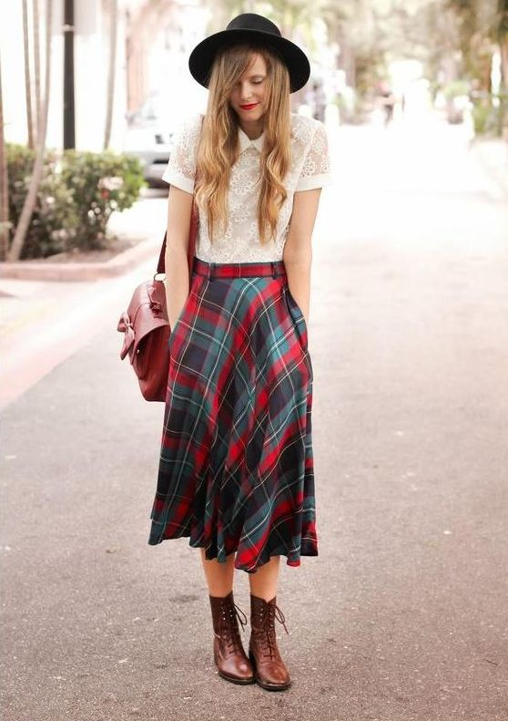 Plaid midi skirt with white collared top