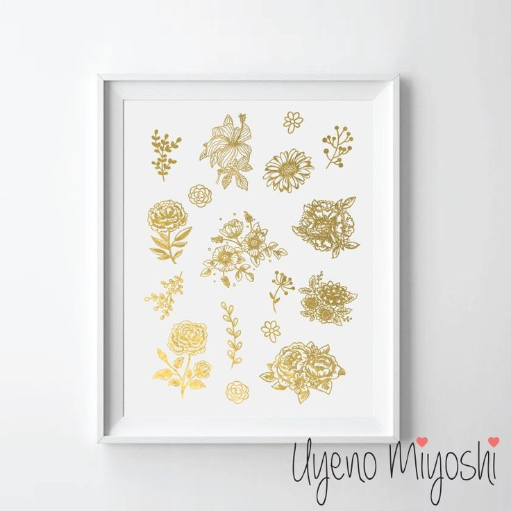 Flowers And Leaves Gold Foil Print Custom In Illustration