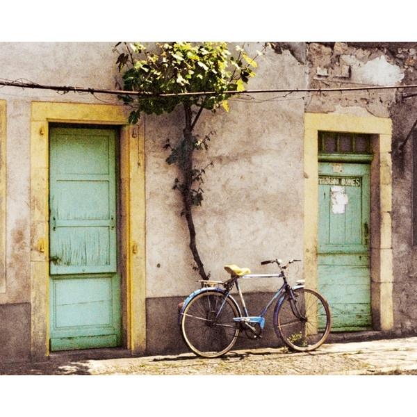 Vintage Bicycle, Photograph, Bike Art, France, Aqua Yellow Doors, Rustic 8x10 found on Polyvore