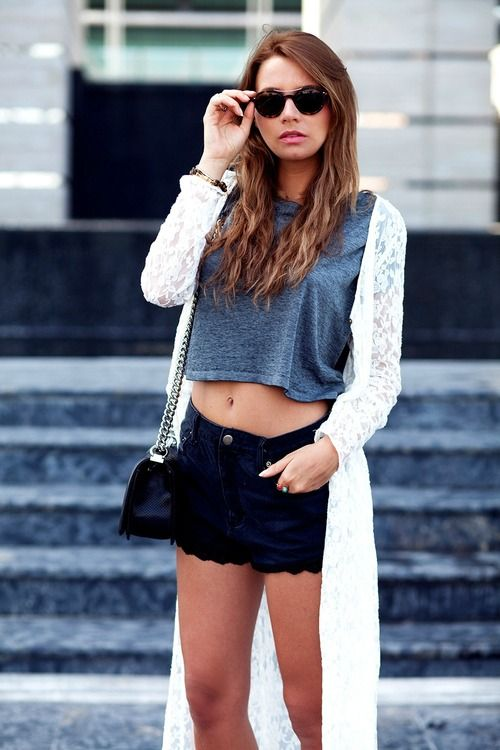 Coachella Fashion. Shop this look on Lookastic:  http://lookastic.com/women/looks/charcoal-cropped-top-and-white-cardigan-and-navy-shorts-and-black-crossbody-bag/2343  — Charcoal Cropped Top  — White Lace Cardigan  — Navy Denim Shorts  — Black Leather Crossbody Bag