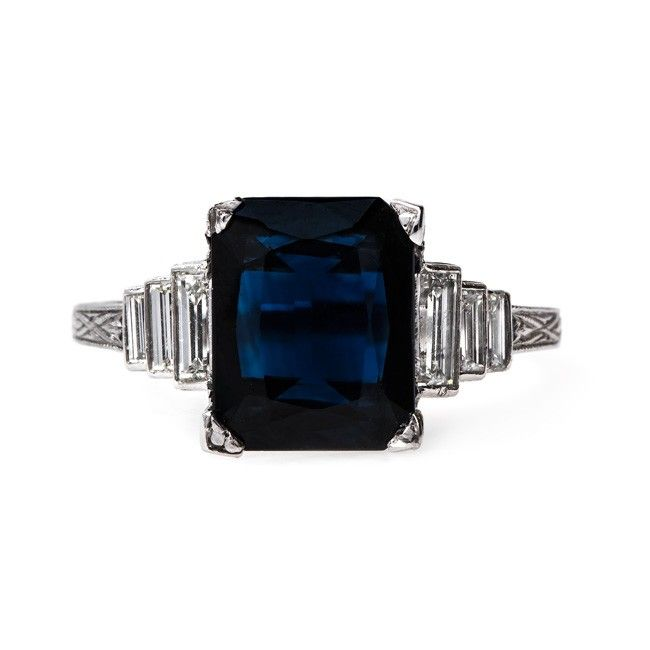 Deep navy blue vintage Art Deco sapphire & diamond ring // Brookhaven by Trumpet & Horn