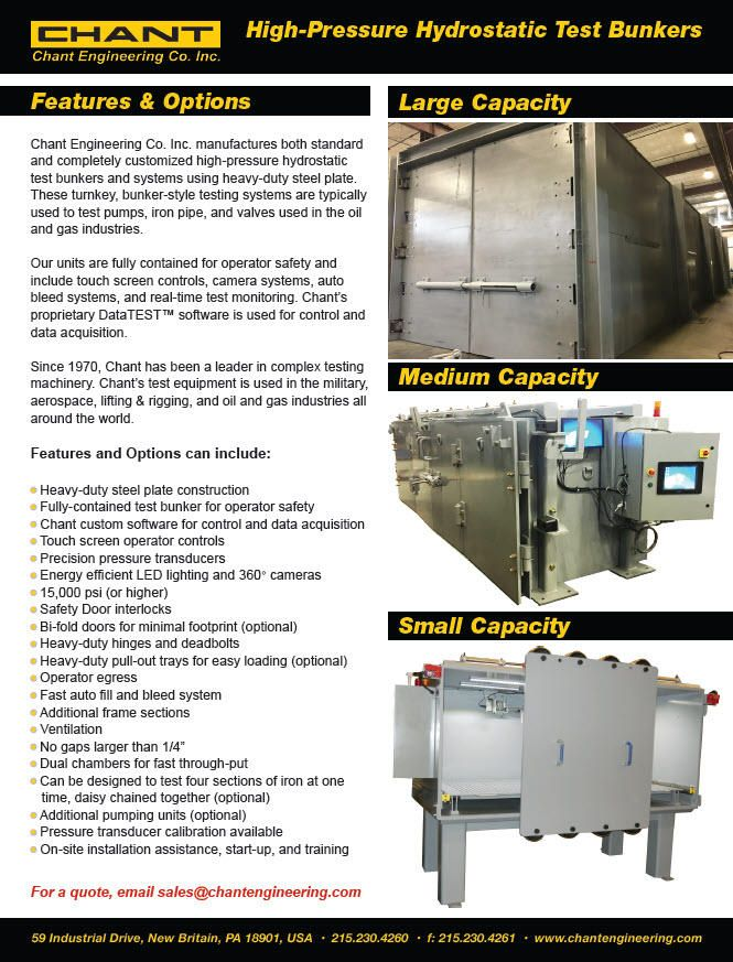 Chant offers a complete line of fully contained high-pressure