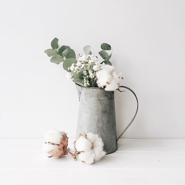 Eucalyptus leaves and cotton flowers // Floral arrangement | White Hart Design Co., on Iconosquare