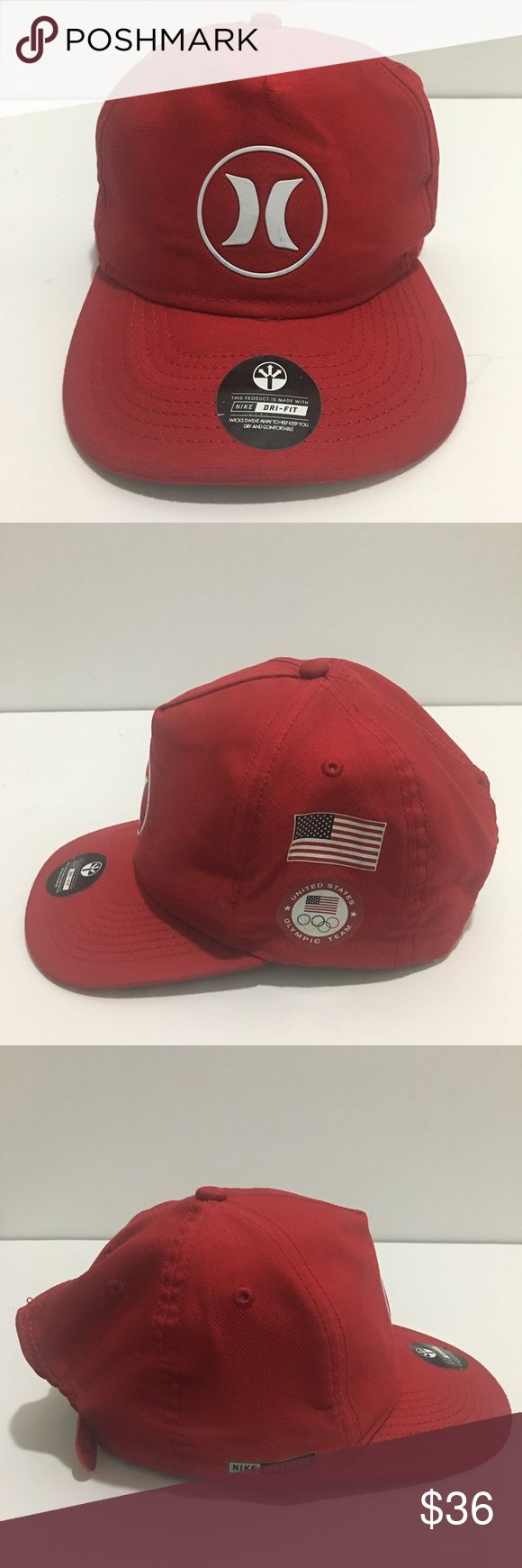 Hurley DriFit Team USA Snapback Red Rio Cap HURLEY Dri-Fit TEAM USA Snapback red hat Rio 2016 cap. New hat never been worn. Has some debris from storage very little. Great looking hat snap back closure.  Please message for any questions. Hurley Accessories Hats