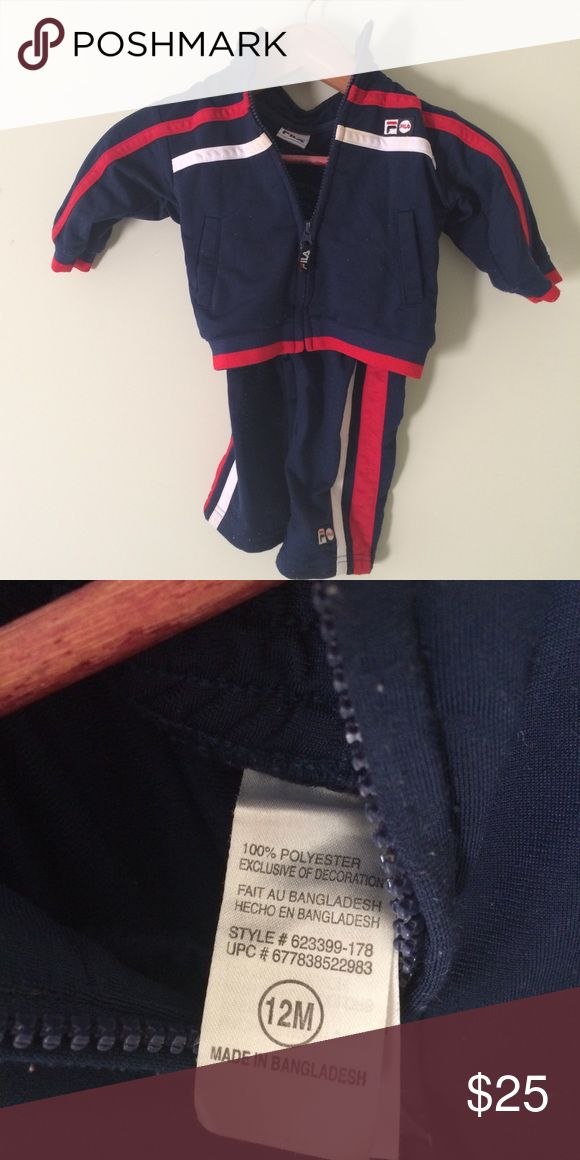 12mo FILA Jogging Outfit I would call this a jogging outfit.  It does feel like those outfits the basketball players wear before the game starts.  Pants and jacket Please feel free to ask for a bundle. Smoke and pet free but obviously not kid free :). Fila Matching Sets
