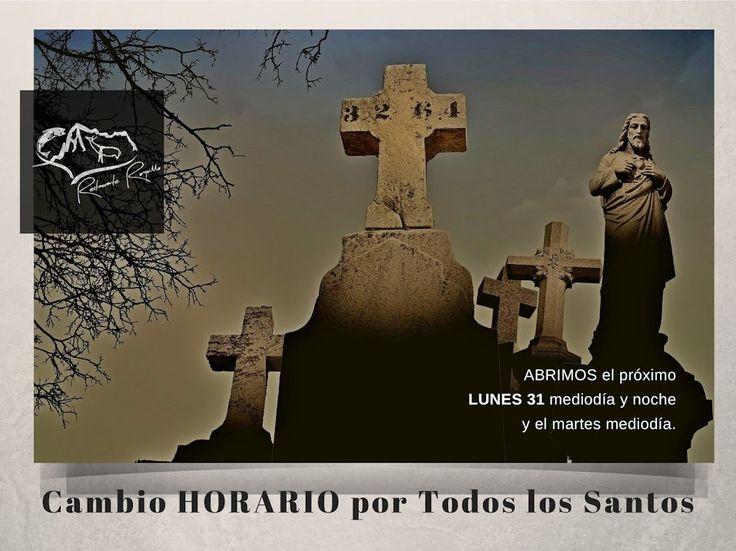 Cambio HORARIO por #TodoslosSantos. ABRIMOS el próximo LUNES 31 mediodía y noche y el martes mediodía.