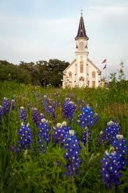Sts. Cyril & Methodius Catholic Church in Dubina, Texas with bluebonnets