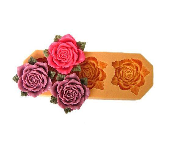 3 Cavités grande fleur Rose avec feuilles Polymer Clay moule souple en Silicone moule pour savon bougie gâteau bonbons Fimo résine artisanat