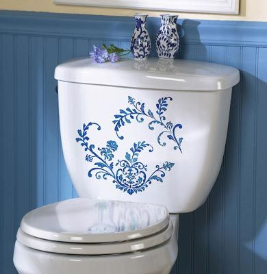 How pretty is this?  Transform your bath in minutes with these elegant French Country blue floral decals. Perfect for the tub, commode, and mirrors.