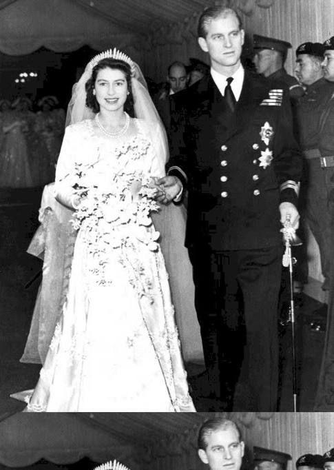 Il matrimonio della regina Elisabetta d'Inghilterra e del Principe Filippo di Edimburgo celebrato nell'abbazia di Westminster il 20 novembre 1947