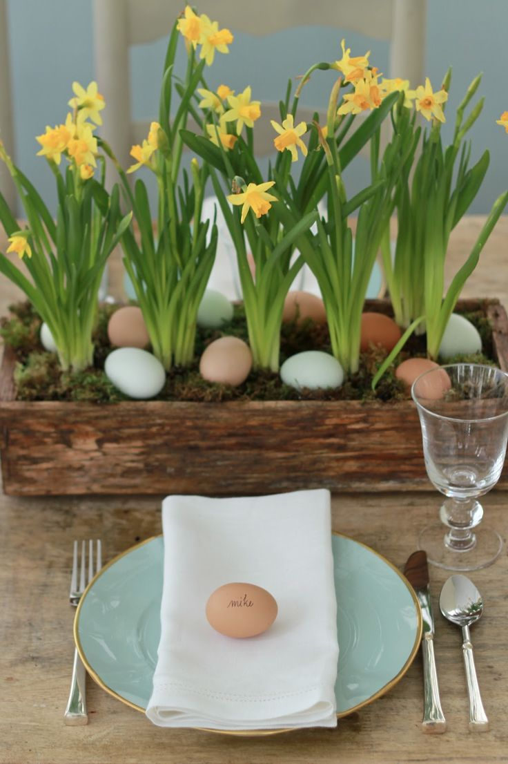 Springy Centerpiece for Easter. Daffodils and eggs. Simple and tasteful.