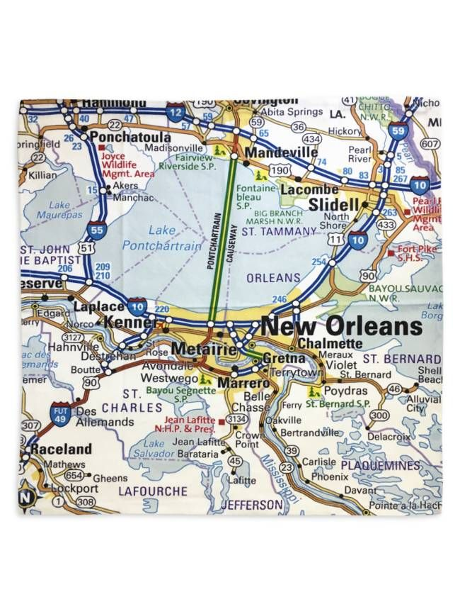 map of greater new orleans 20 Inch Cotton Canvas Napkins Feature A Map Of The Greater New map of greater new orleans