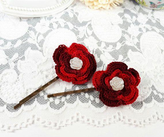 2 bordeaux bobby pins crochet hair accessories lace hair